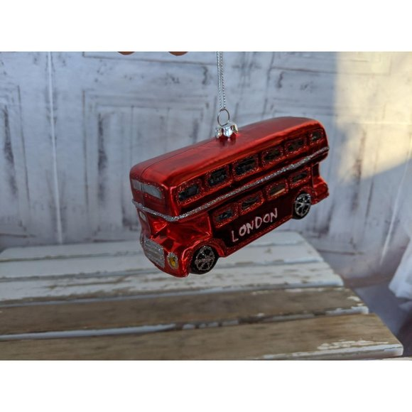 London glass bus car ornament Xmas tree